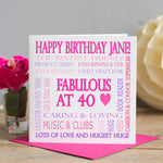 Personalised Word Art Birthday Card - Pink