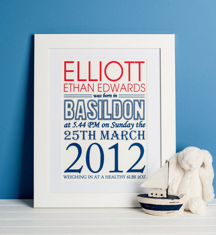Personalised Birth Announcement Print