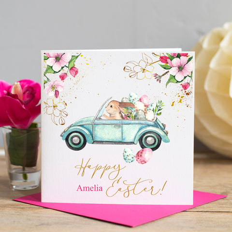 Personalised Easter Card, Driving Bunny