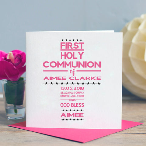 First Holy Communion Word Art Card