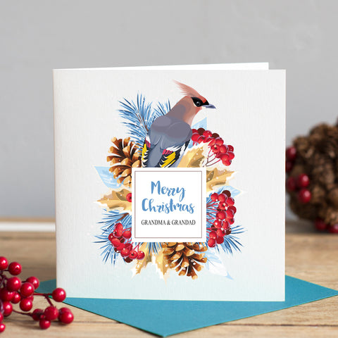 Illustrated Winter Bird Christmas Card