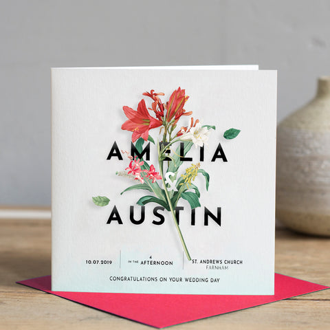 Vintage Floral Wedding Card