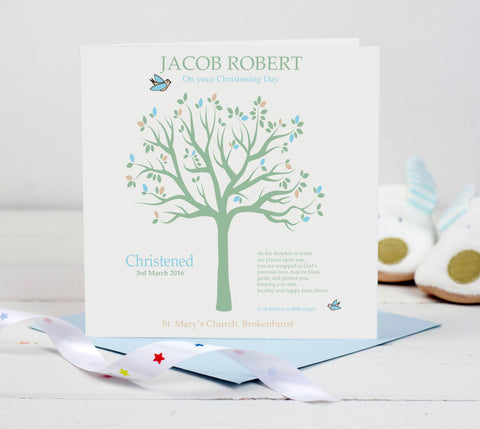Personalised Christening Card - Blue Tree