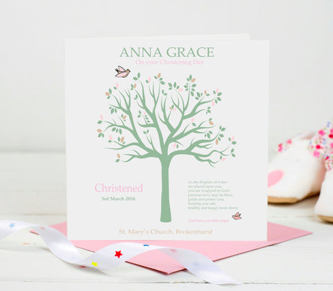 Personalised Christening Card -Pink Tree
