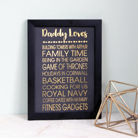 Personalised Metallic Dad Loves Print