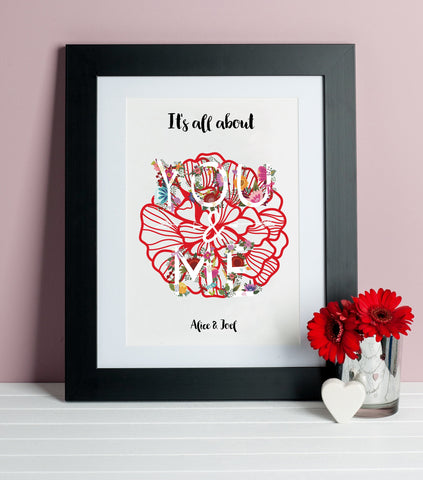 It's All About You And Me Personalised Print