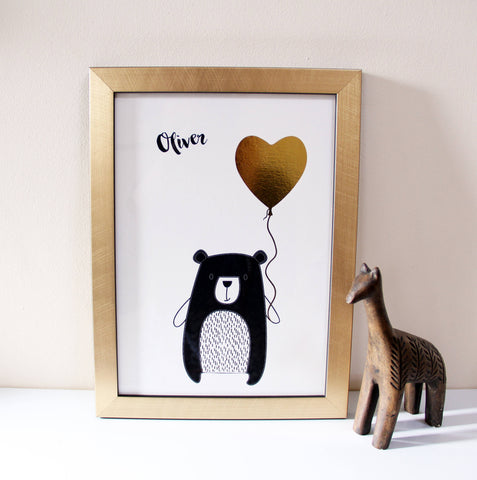 Bear Metallic Nursery Print