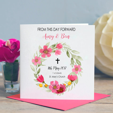 Floral Wreath Wedding Card