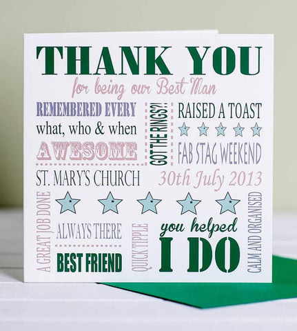 Personalised Thank You Best Man Card