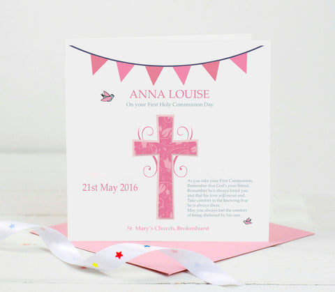 First Holy Communion Card - Pink Cross