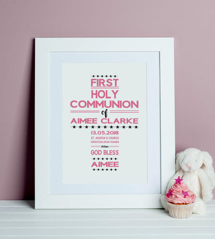 First Holy Communion Word Art Print