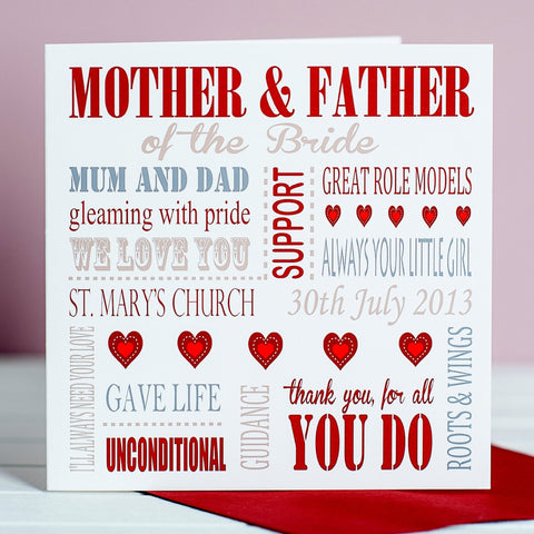 Personalised Mother of the Bride or Groom Card