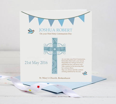 First Holy Communion Card - Blue Cross