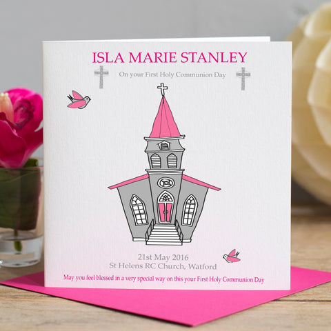 First Holy Communion Card - Pink Church