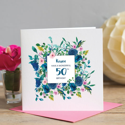 50th Birthday Card - Floral