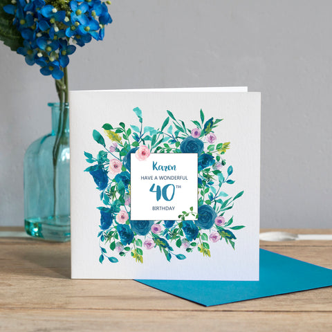 Personalised 40th Birthday Card -Floral