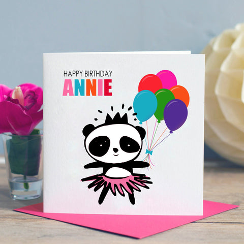 Girl's Panda Birthday Card