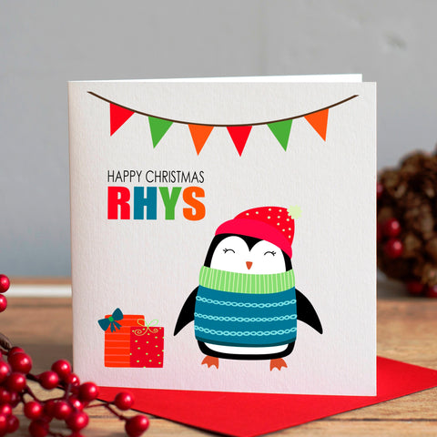 Child's Penguin Christmas Card