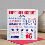 16th Birthday Card - Red