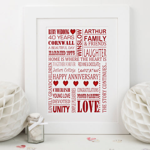 Ruby Wedding Anniversary Print