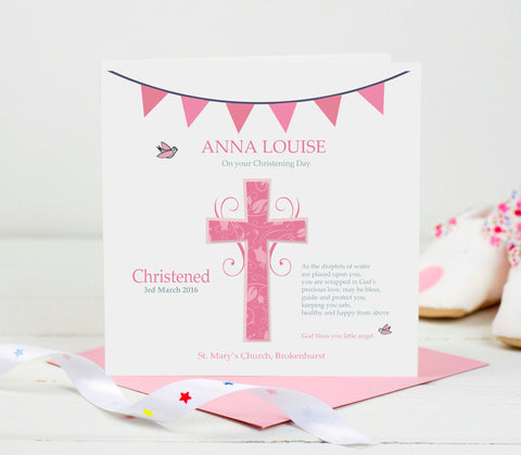 Personalised Christening Card - Pink Cross
