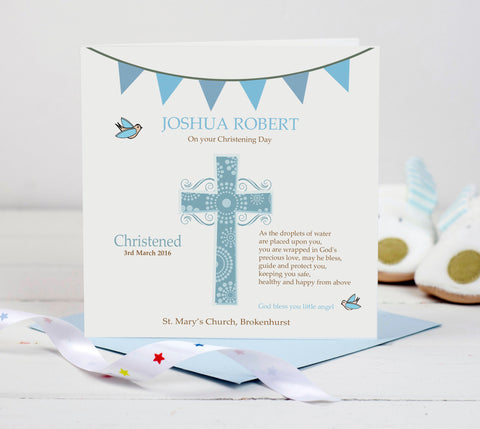 Personalised Christening Card - Blue Cross