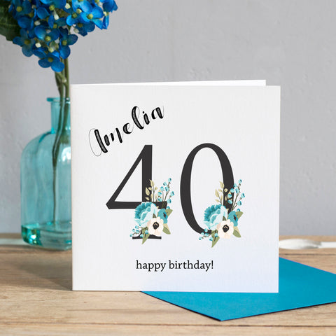 40th Birthday Card - Floral Numbers