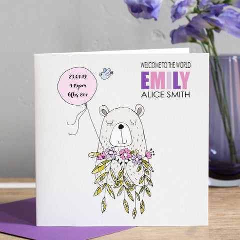 New Baby Girl Card - Bear