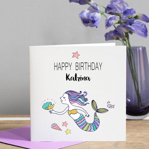 Girl's Personalised Mermaid Birthday Card