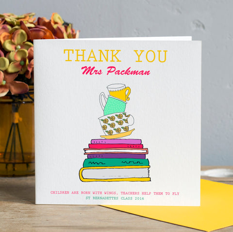 Personalised Teacher Card - Books