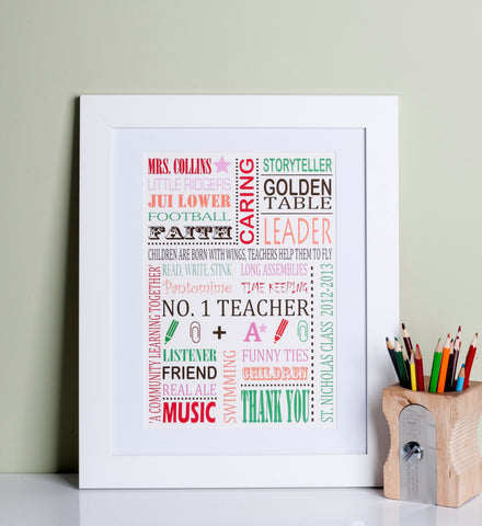 Thank you Teacher Personalised Print