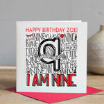 Personalised 9th Birthday Card