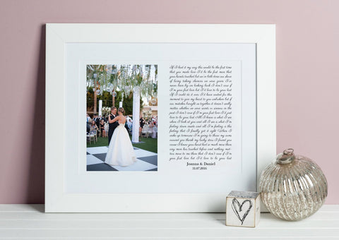 Song Lyrics and Photo Print