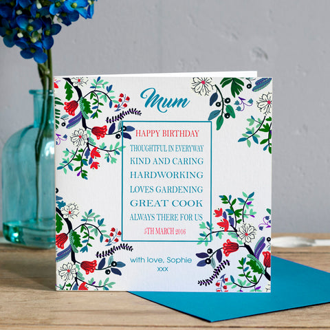 Personalised Mum Floral Birthday Card
