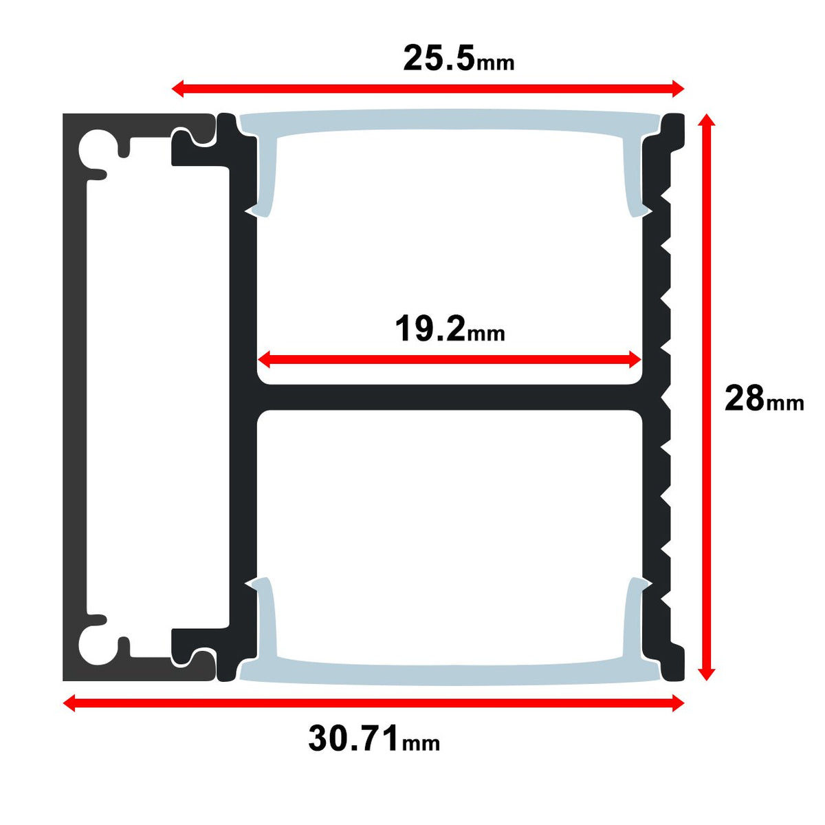 MOSS-ALQ-3028 Mounting Channel - 1 Meter