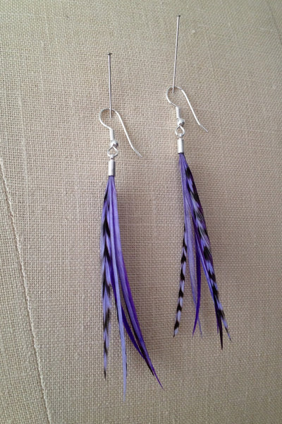 Tonal Purple Feather Petite Statement Earrings