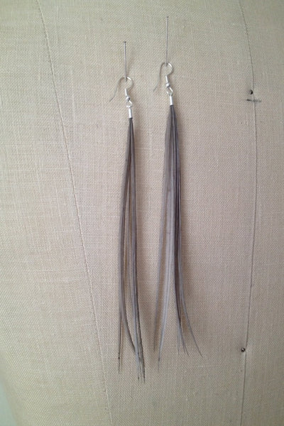 Gray Feather Statement Earrings