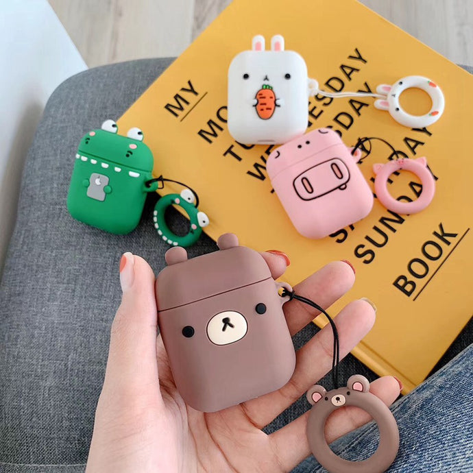 Cute Animal Face AirPod Case Cover