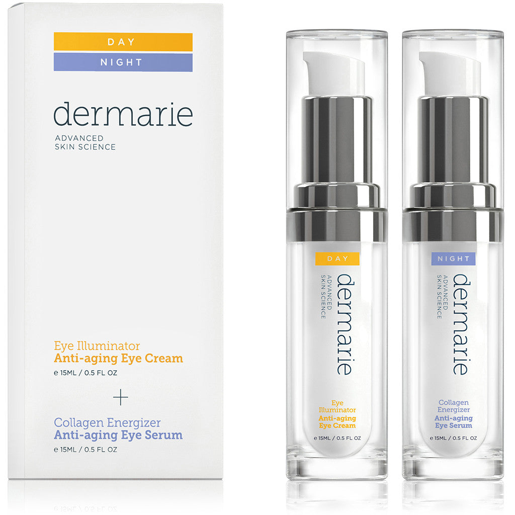 Dermarie Illuminator Eye Cream & Collagen Energizer Eye Serum Day Night Treatment Set