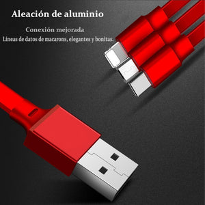 Cable USB Múltiple, Cable de Carga Retráctil 3 en 1, Micro Type C para iPhone y Android