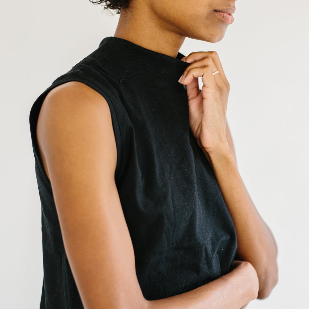 The Mock Neck Tank - Black