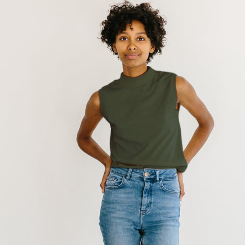 The Mock Neck Tank - Olive