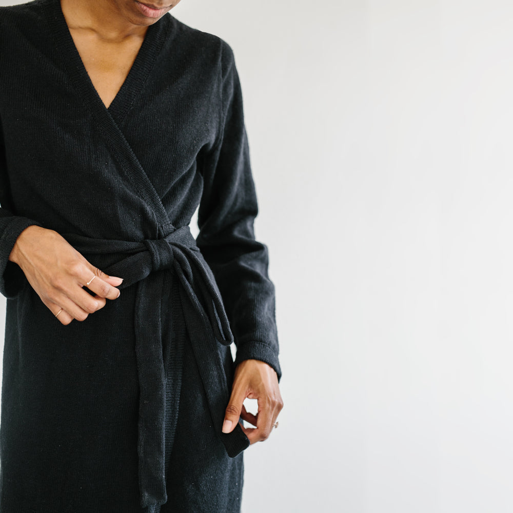 The Knit Wrap Dress - Black