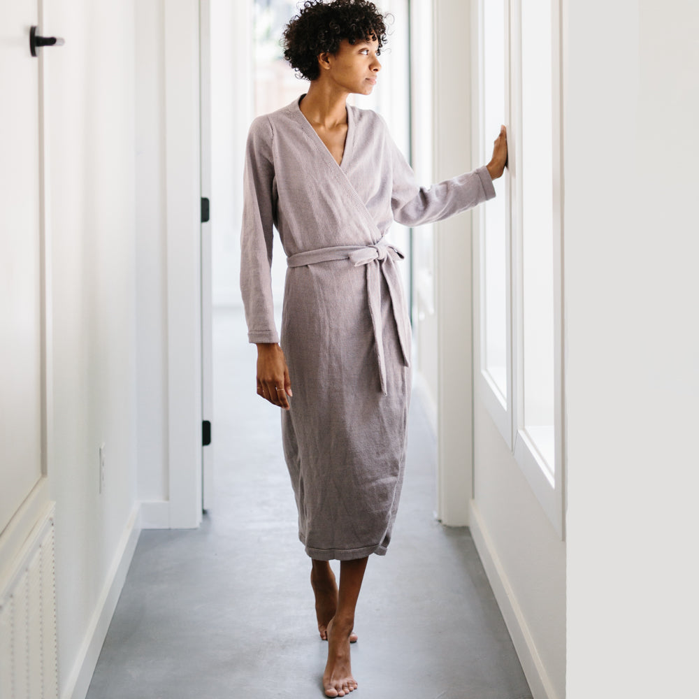 PREORDER: The Knit Wrap Dress - Haze