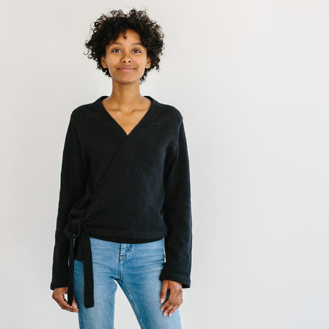 The Knit Wrap Top - Black
