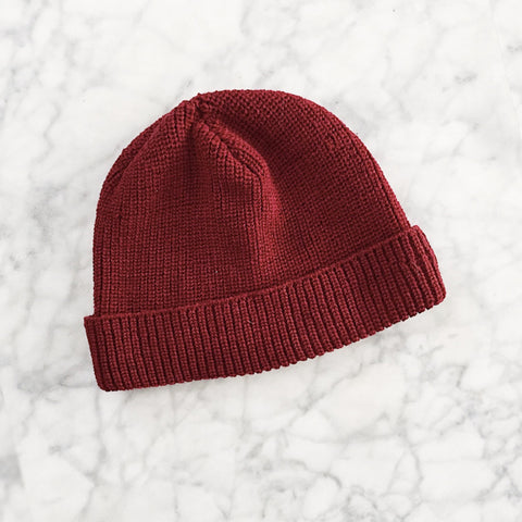 Merino Wool Beanie - Red