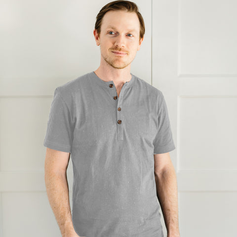 The Short Sleeve Henley - Ash Grey