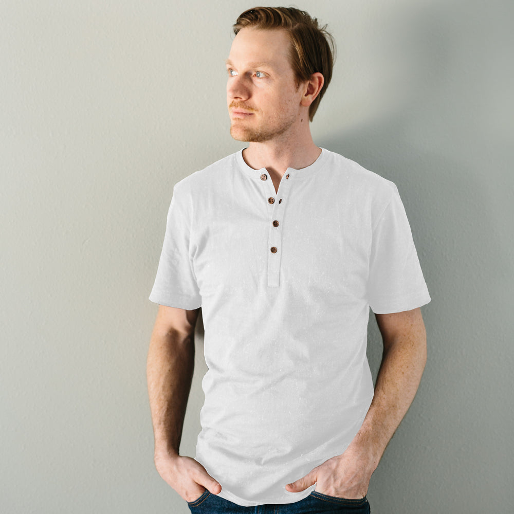The Short Sleeve Henley - White