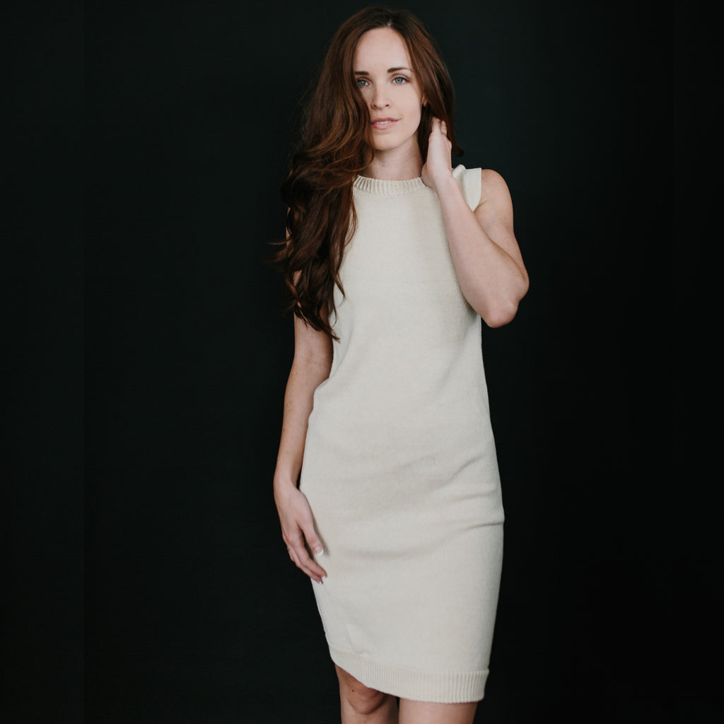 Sleeveless Sweater Dress - Ecru