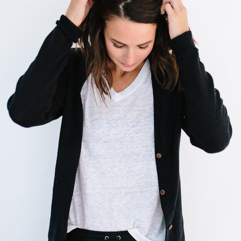 The Cotton Cardigan - Black